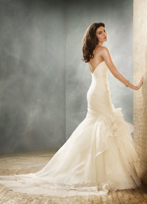 organza fit and flare wedding dresses