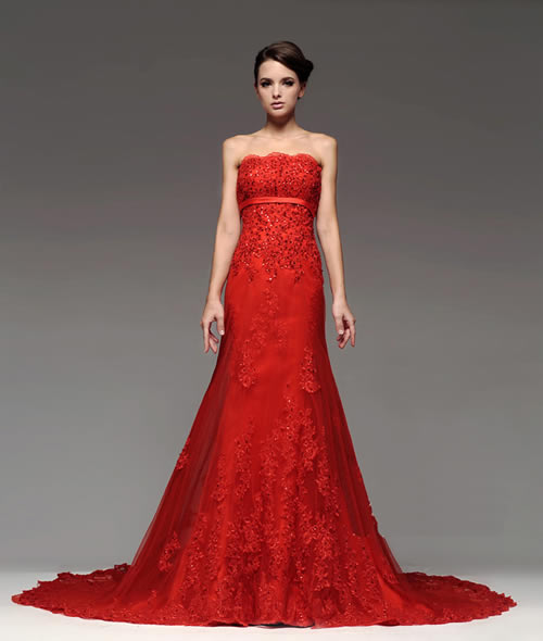 Being Much Sophisticated With Red Lace Wedding Dresses