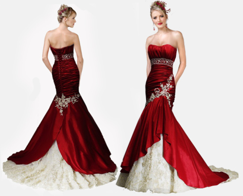 red wedding dress with mermaid silhouette