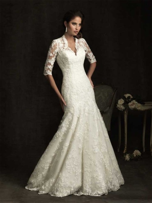 retro lace wedding dress with sleeves