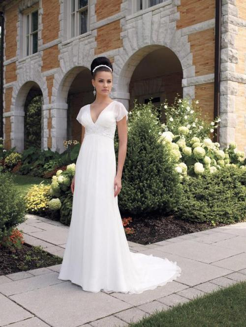 simple v-neckline lace wedding dress with cap sleeves