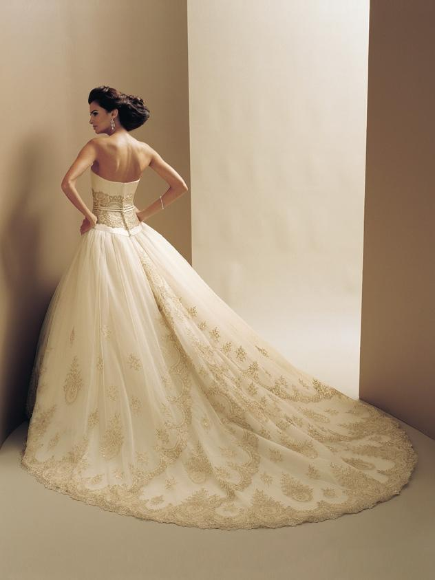 strapless designer bridal dress with long train