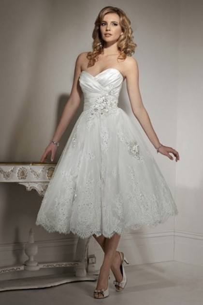 knee length tulle princess wedding dress with a-line silhouette