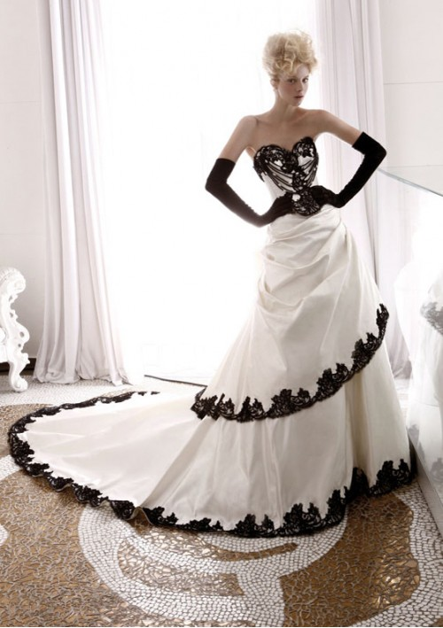 wedding dress with black lace corset