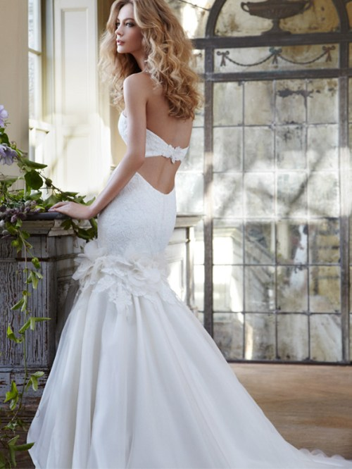 embroidered strapless wedding dress with back cut out