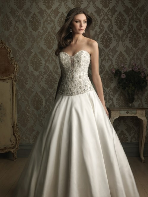 satin sweetheart ball gown wedding dress with chic beading on bodice