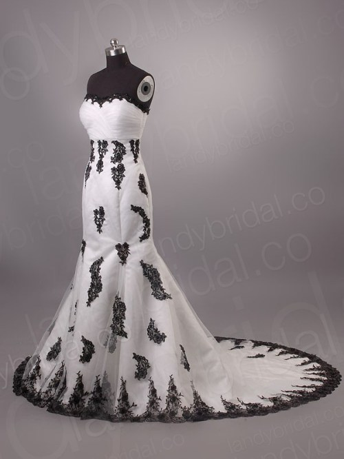 vintage white wedding dress with black lace