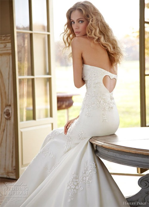 wedding dress with back cut out