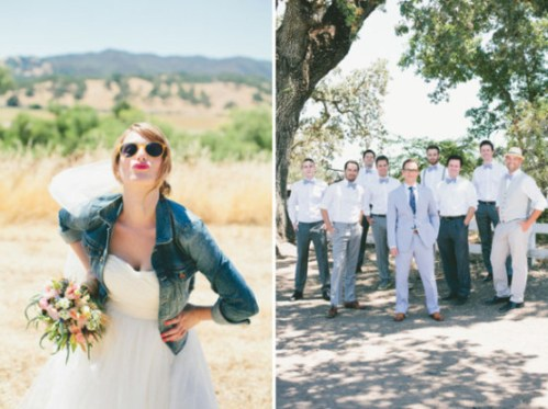 wedding dress with denim jacket