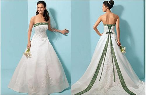 wedding dress with emerald green accents