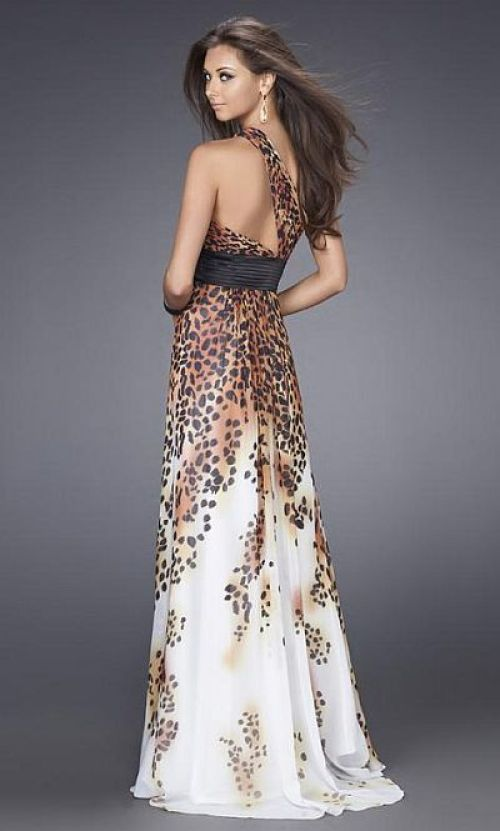 a-line leopard print wedding dress with one shoulder