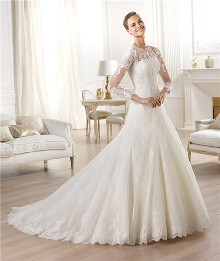 a-line tulle lace wedding dress with illusion long sleeves