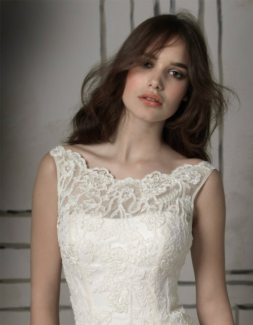 a-line wedding dress with illusion lace neckline