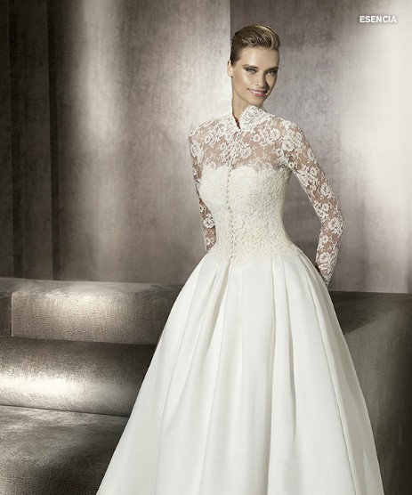 ball gown wedding dress with net long sleeves