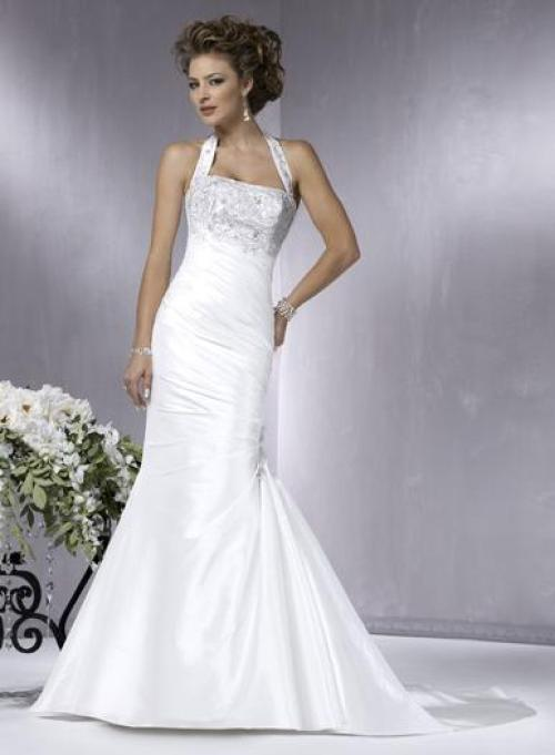 halter top white wedding dress with embroidery