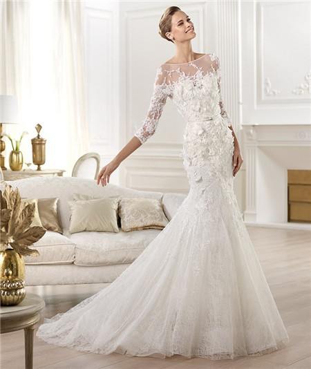 mermaid illusion neckline wedding dress with cap sleeves and open back