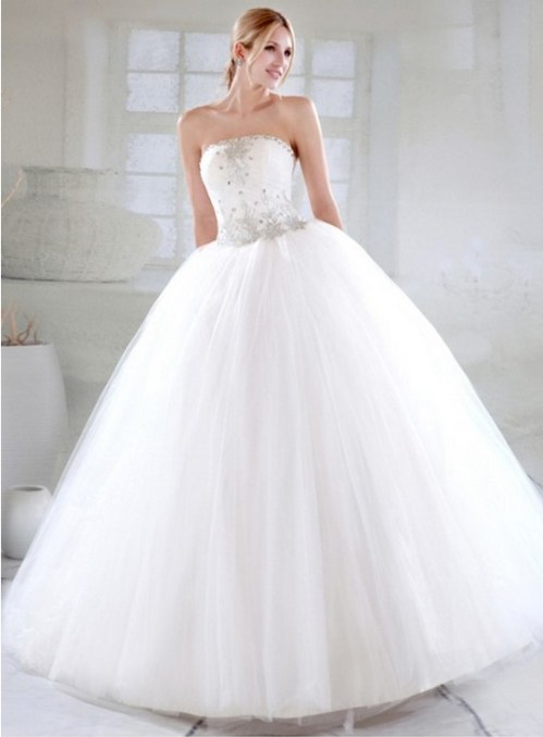 simple strapless wedding dress with huge skirt