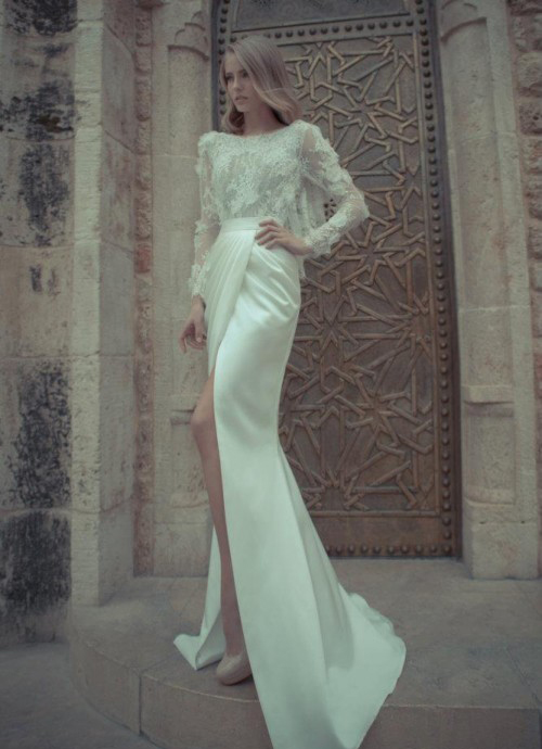 spring wedding dress with leg split by Yaki Ravid