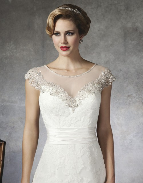 sweetheart lace wedding dress with illusion neckline