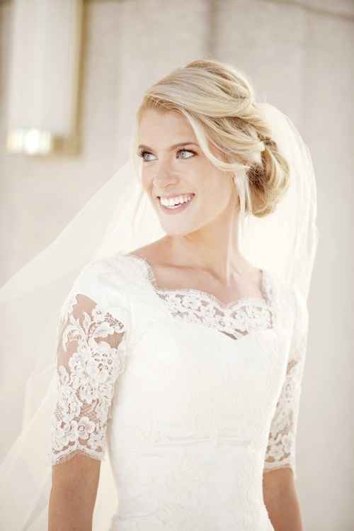 wedding dress with elbow lace sleeves