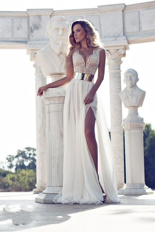 wedding dress with leg split