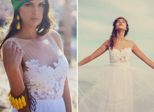 wedding dresses with illusion necklines
