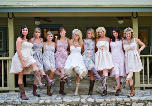 short sweetheart wedding dress with cowboy boots