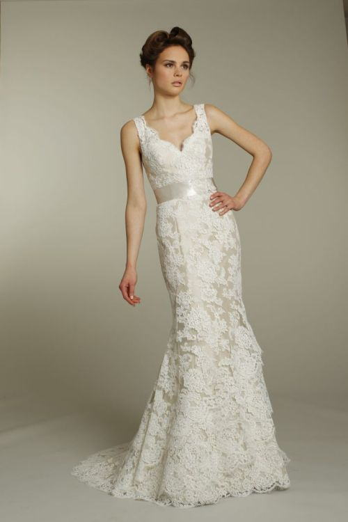 ivory fall v-neck lace wedding dress with champagne ribbon sash