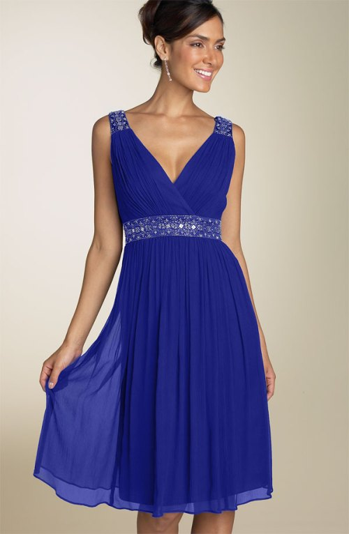 sleeveless blue wedding guest dress with knee length