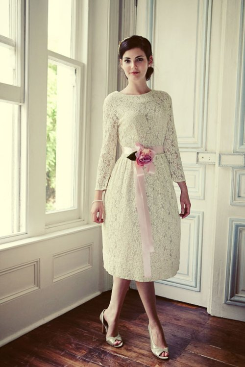 vintage lace short wedding dress with pink sash