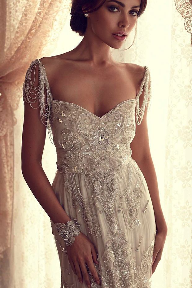 beaded lace wedding dress with straps
