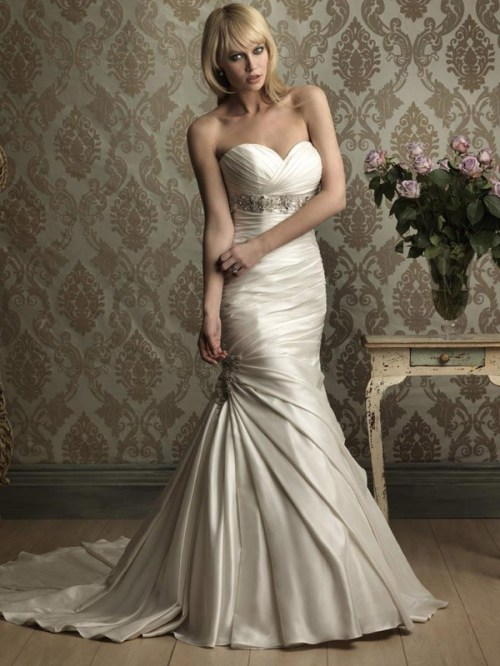 satin mermaid sweetheart neckline wedding dress