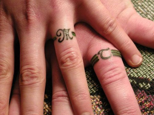 wedding ring tattoos initials