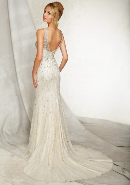Mori Lee beaded back wedding dress