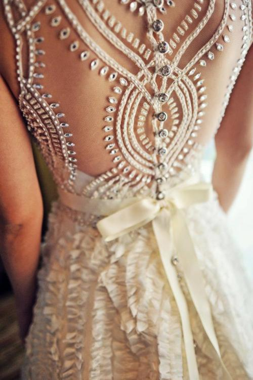 beaded back a-line wedding dress