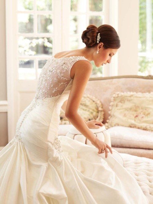 beaded back mermaid wedding dress