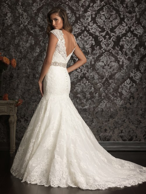 mermaid styled lace wedding dress with v-back and floor length