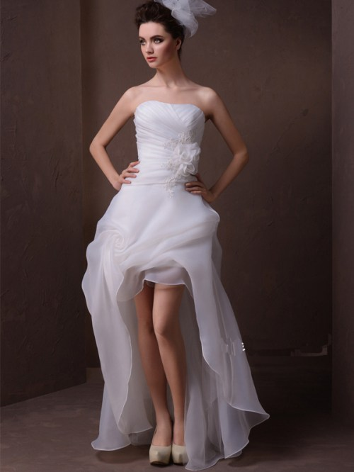 sexy summer organza wedding dress with ruffles