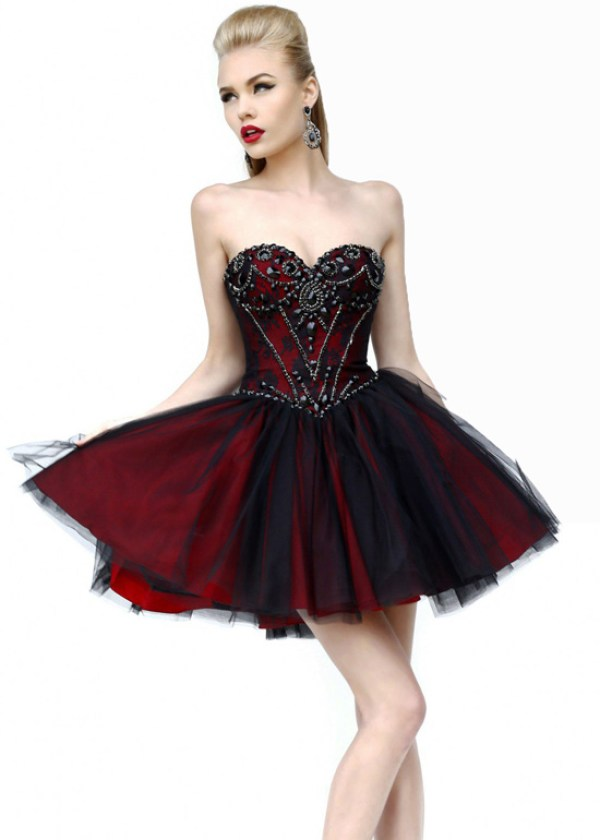 short red and black beaded lace wedding dress