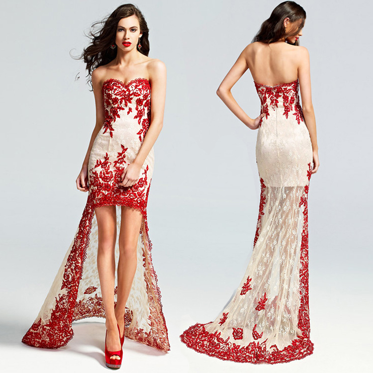 short red and white wedding dress