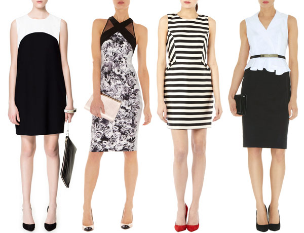 modest black and white wedding guest outfits