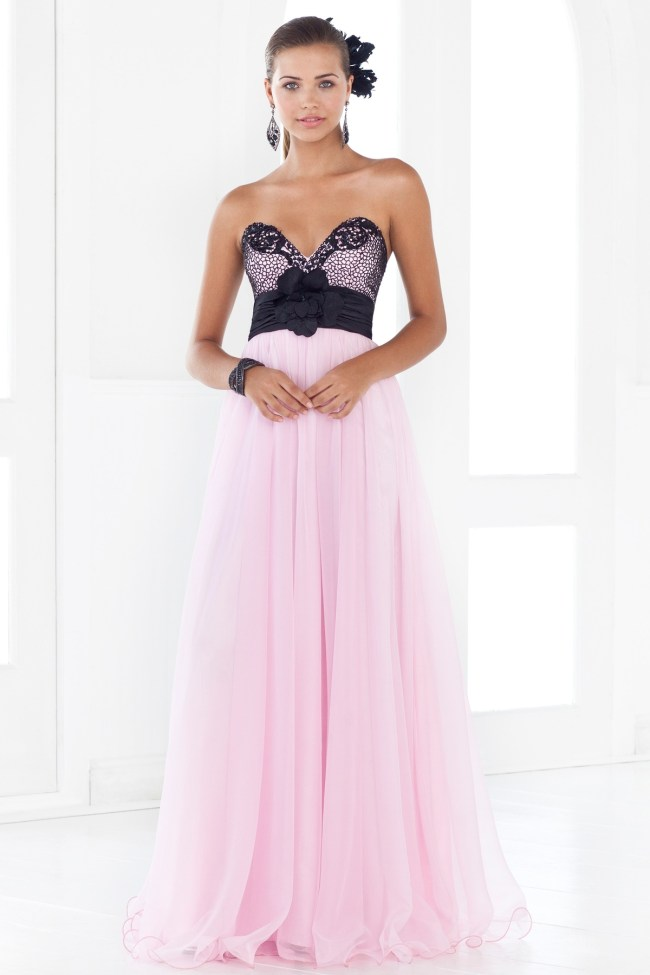 pink and black sweetheart prom dress