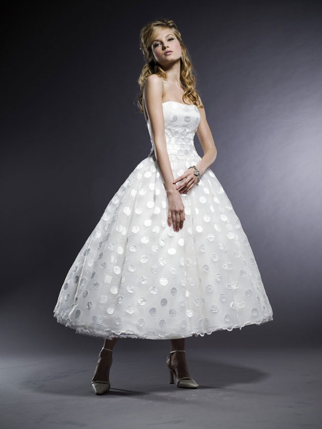 retro tea length strapless wedding dress with ball gown
