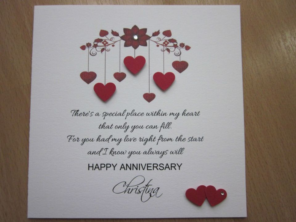 handmade unique wedding anniversary card