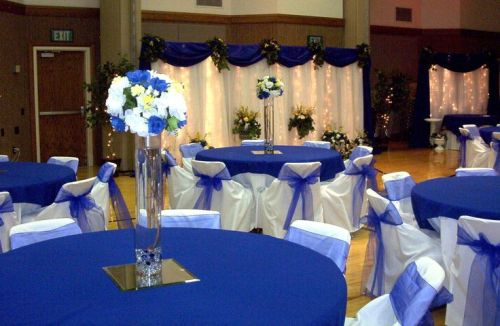 blue wedding decoration with white accent