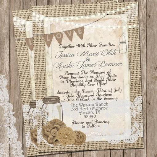 burlap and lace wedding invitation for country wedding theme