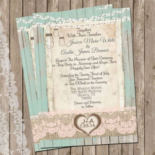 burlap and lace wedding invitations with mansion jars