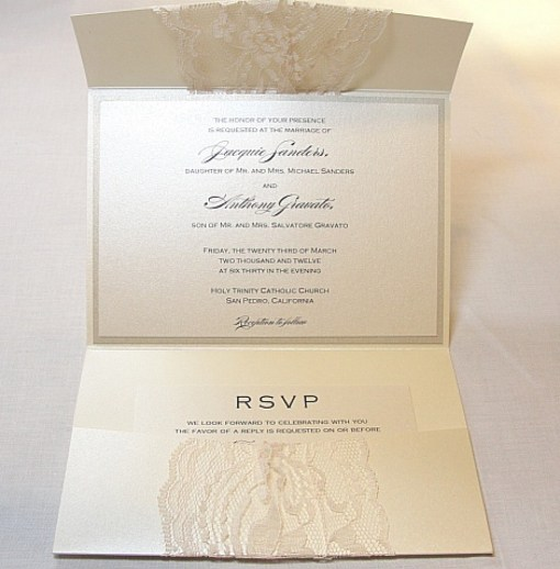 grey lace wedding invitation with pocket