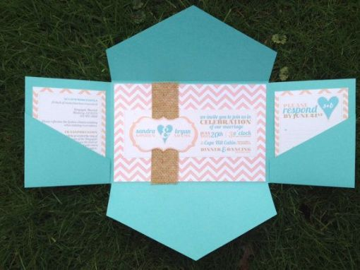 tiffany blue and coral wedding invitation ideas