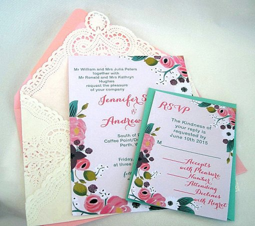 tiffany blue and coral wedding invitation with lace